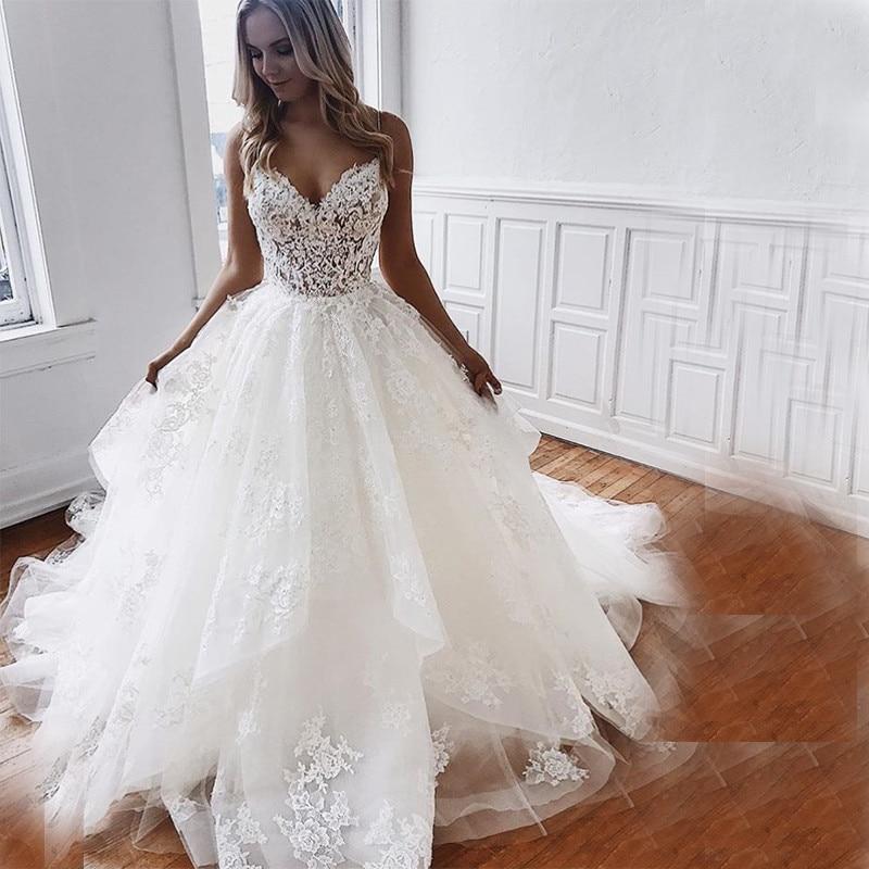 Custom Made White Ivory A-line Wedding Dresses V-neck Lace Appliques Spaghetti Straps Bridal Gowns Vestido De Novia