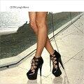 CDTS 2016 обувь девушку весна/осень Лодыжки Ремень Круглый Toe 15 см высокие каблуки платформы свадьба насосы, Большой 35-45 46