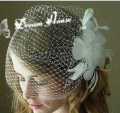 Wedding Hair Clip Headband Headdress Feather Bridal Veil Small Mesh bride hat Accessories Feathers and Mini Birdcage Veil