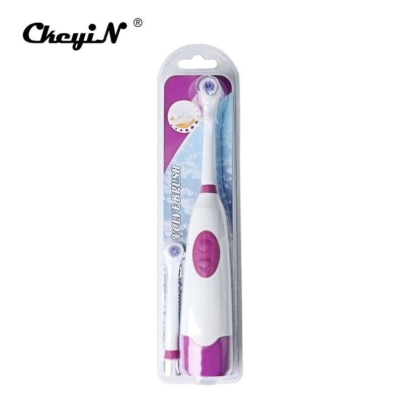 Battery Operated Waterproof DuPont Bristles Rotary Electric Toothbrush with Two Replaceable Brush Heads For Adult or Children image