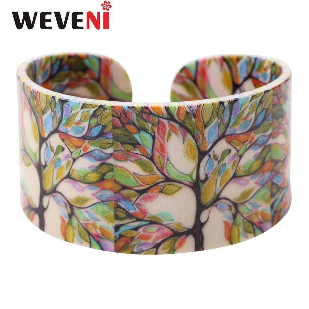 WEVENI Acrylic Colorful Tree Pattern Wide Cute Bracelets Bangles Fashion Jewelry For Women New Spring Summer Accessories