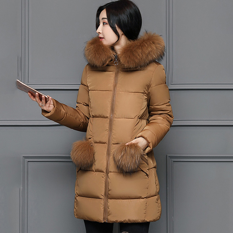 Winter Down Coat Women 2017 Fur Collar Long Slim Zipper Thick Warm Pocket Wadded Women Down Hooded Jacket Womans Parkas Jackets