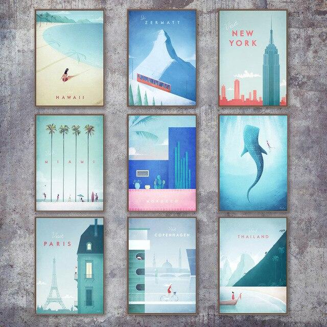 Мультфильм город Нью-Йорк заколка для волос Paris London Марокко Wall Art холст картины плакаты на скандинавскую тему и принты настенные картины для ...