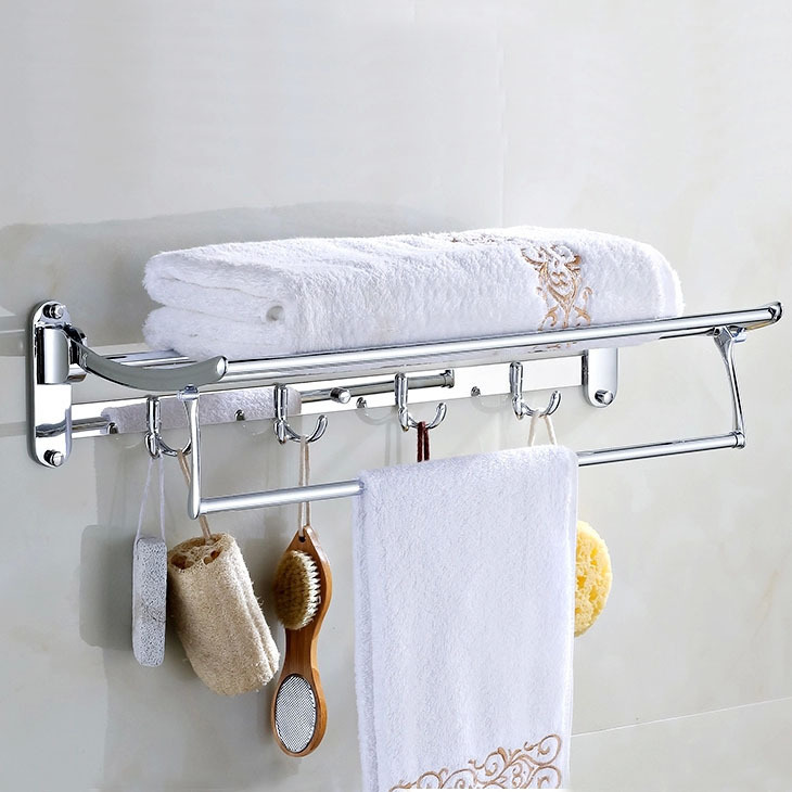 Stainless Steel Bathroom Racks Pendant Towel Rack Modern Polished Bathroom Folding Towel Rack With Clothes Hook Wall Mount Te10 sucker bathroom towel rack stainless steel bar folding frame multi pole hanging