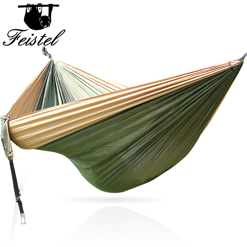 Travel Camping Portable Nylon Hammock For Indoor Outdoor Use 300*200 CM Sleeping Hammock With Strong Rope