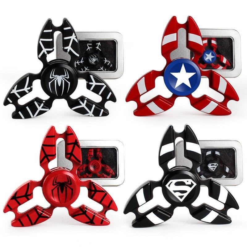 The Avengers Fidget Spinner Tri Spinner Crab Metal Finger Spinners Spider Man Captain America Hand Toys