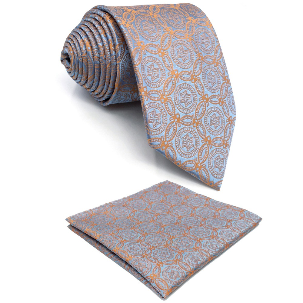 E26 Orange Grey Abstract Silk Mens Necktie Wedding Fashion Ties for male Dress Classic Extra long size Hanky