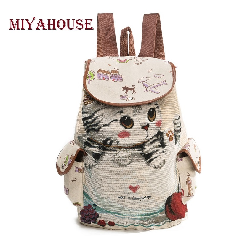 Miyahouse Casual Canvas School Backpack Women Lovely Cat Printed Drawstring Backpack Teenager