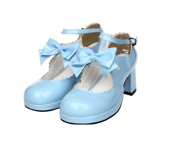 Pl Princesa Señora 4 Zapatos Impresión Tacones Chica Mori Vestido Partido brown Lolita Mujer Heel púrpura Mano 47 5cm Negro blue Bombas A blanco Angelical rosado Altos Hecho Cosplay 33 Mujeres pwqvBZp