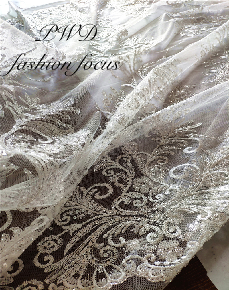 WHITE bridal lace Beautiful french Chantilly lace fabric wholesale HK19S032601 with sequins high quality