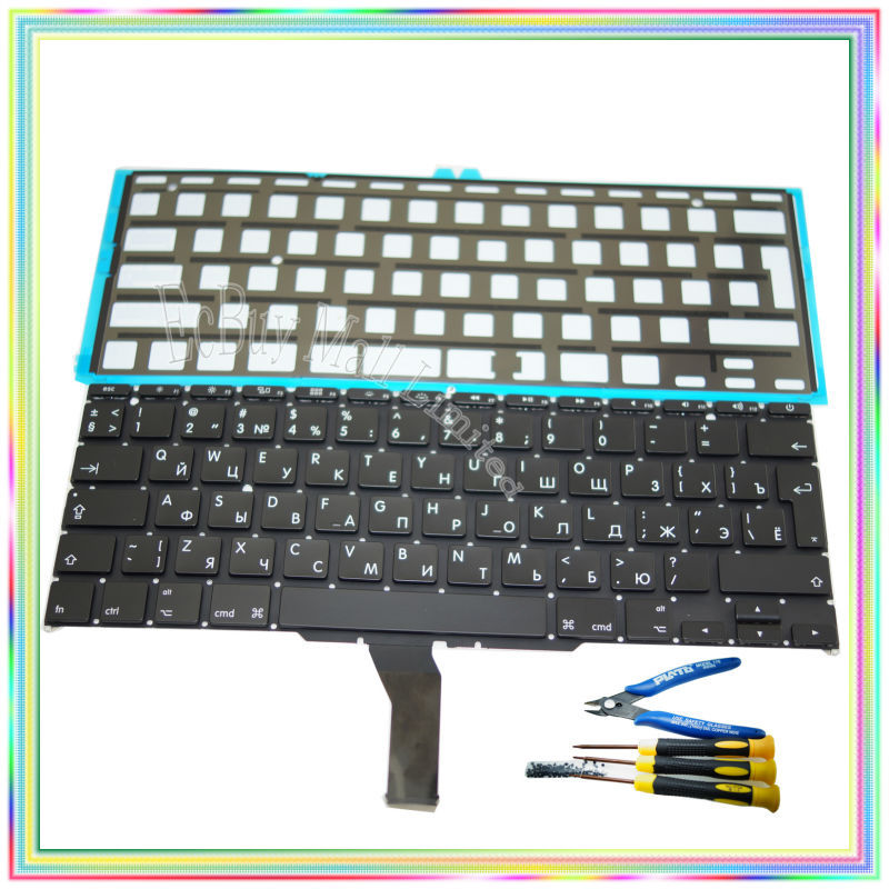 Brand new Russian RU Keyboard with Backlight & keyboard screws & screwdriver tools for Macbook Air 11.6 A1370 A1465 2011-15Year original new topcase 11 6 for macbook air a1370 a1465 palmrest top case with us keyboard backlight no touchpad 2013 2015