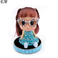 YiZhi car styling Ornaments with diamond and holder mosee lovely Decoration in girl car