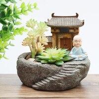 1 unid Maceta de resina de Templo budismo Monje Fengshui para Plantas Suculentas Macetas de jardín de micro-paisaje para decoración de Jardín