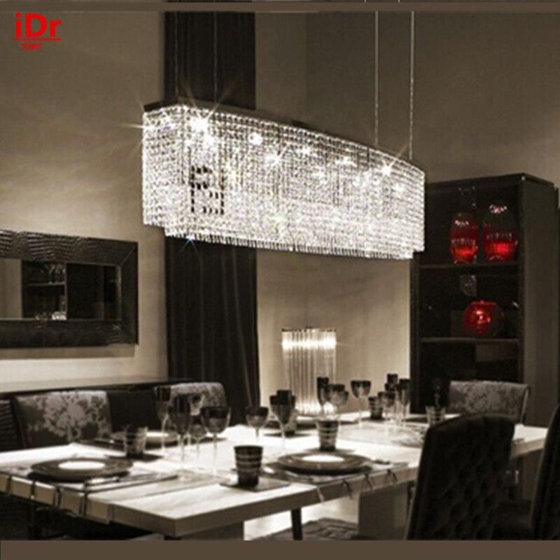 LED rectangulaire lustre en cristal de haute qualité de style Européen étude de lampe de salon lampe restaurant lampe creative bar
