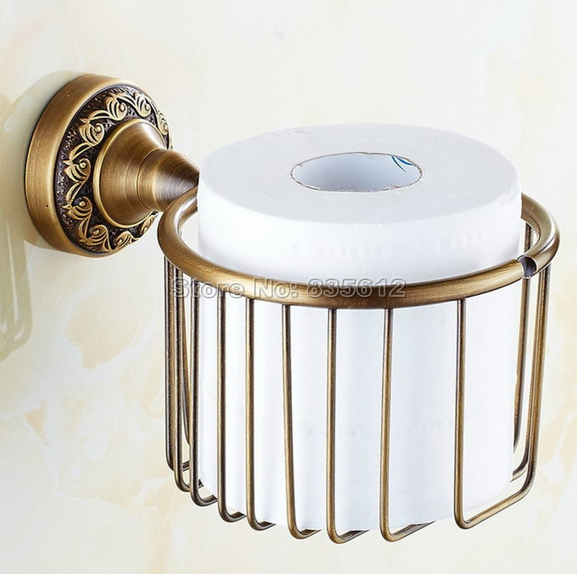 Antique Brass Bathroom Wall Mounted Toilet Paper Holder Roll Tissue Holder Basket Wba485 antique carved toilet paper holder brushed tissue holder carton solid brass bathroom accessories wall mounted bathroom products