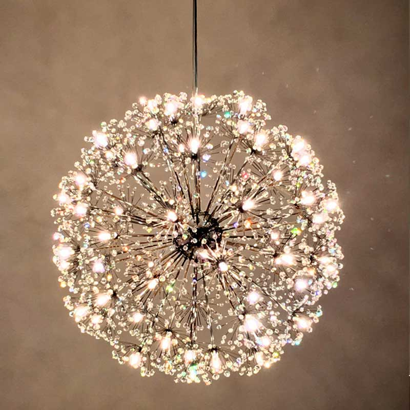 European Style Modern Minimalist Living Room Round Dandelion Crystal Hall Chandelier Creative Led Art Romantic Restaurant Light