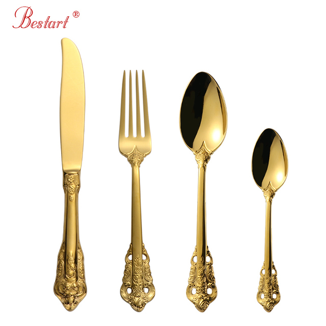1lot/24 Pcs Luxury Gold Cutlery Set Gold Plated 18/10 Stainless steel Dinnerware Set Dinner Fork Dining Knife Tablespoon for 6 2