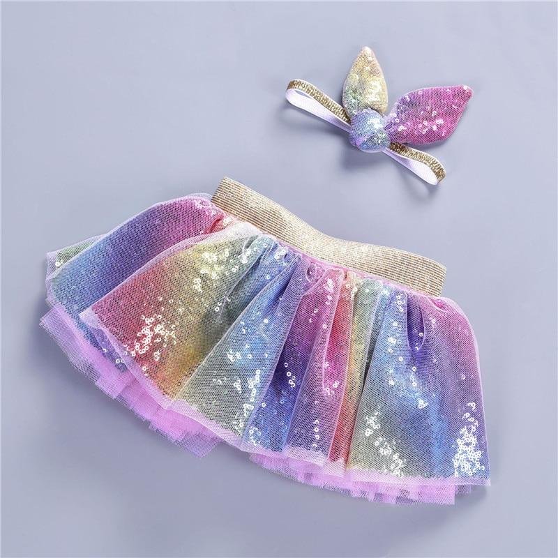 Летняя От 0 до 8 лет, юбка-пачка для девочек Детский комплект, радужная повязка на голову с бантом, фатиновая юбка костюм принцессы Одежда для ...