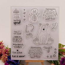 Cute Snow Ice Bear Dress Warm Clear Stamps for Scrapbooking DIY Silicone Seals Photo Album Embossing Folder Paper Maker Template