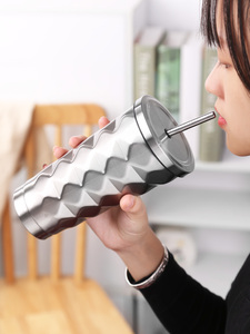 Image 5 - ステンレス鋼絶縁カップ真空フラスコ魔法瓶 500 ミリリットル絶縁魔法瓶コーヒーマグ旅行わら