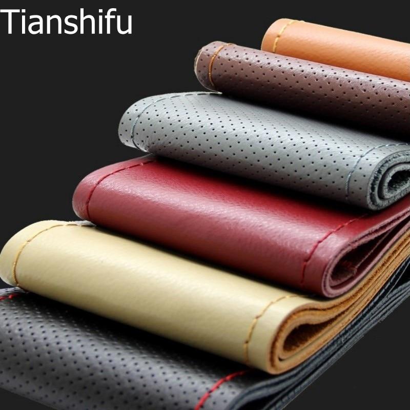 Tianshifu bästa handkänsla Äkta äkta läder Kohud Bil Ratt Täck hål med nålar och gänga