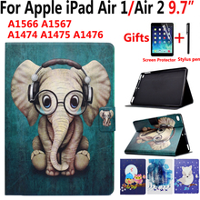 Animal Cartoon Case for Apple iPad Air 1/2 iPad 5/6 9.7 inch Flip Pu Leather Shockproof Smart Cover Case for iPad Air1/Air2 9.7