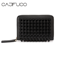 CAJIFUCO 2018 Red Love Zipper Credit Card Holder Japanese Style Rivet Card Wallet Genuine Leather Studded