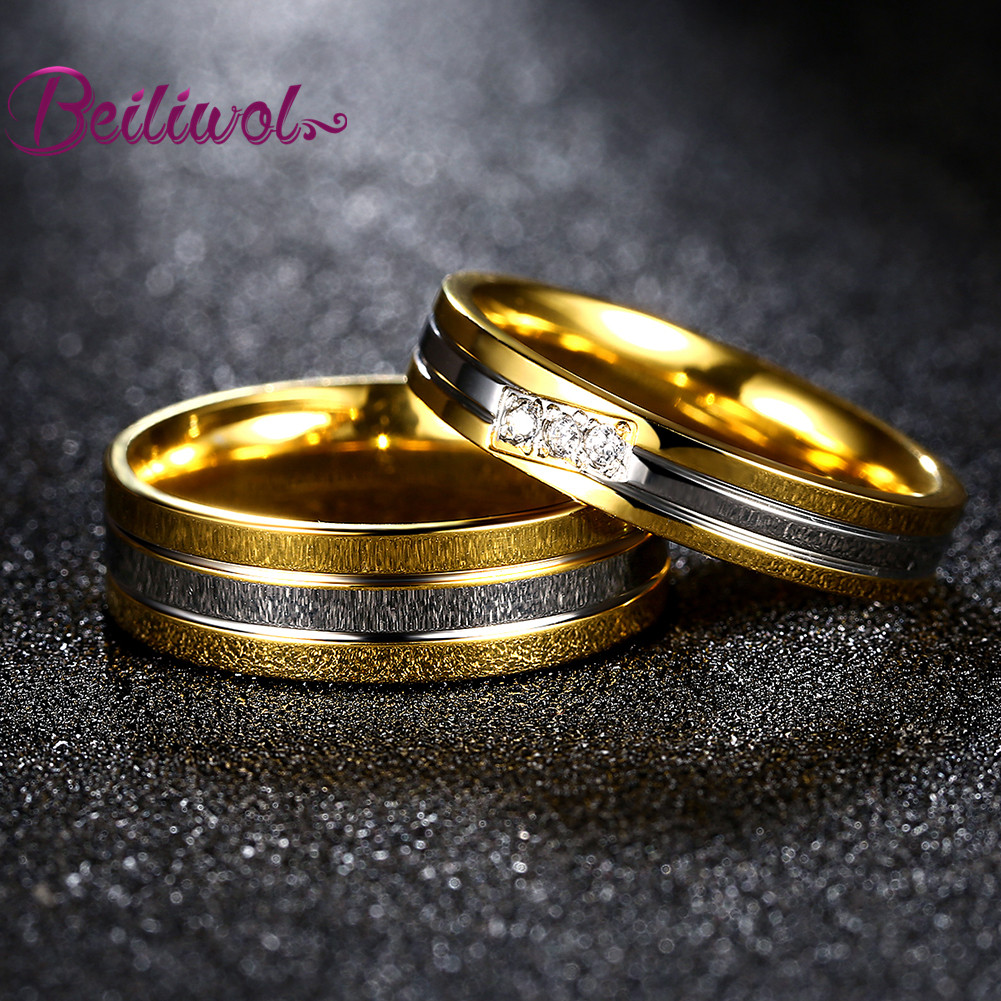 2017 Fashion Gold Color Engagement Rings Titanium Couple Wedding Jewelry Valentines Day Engraved Name Gifts Ring Setin From Accessories On: Golden Wedding Rings Names At Websimilar.org