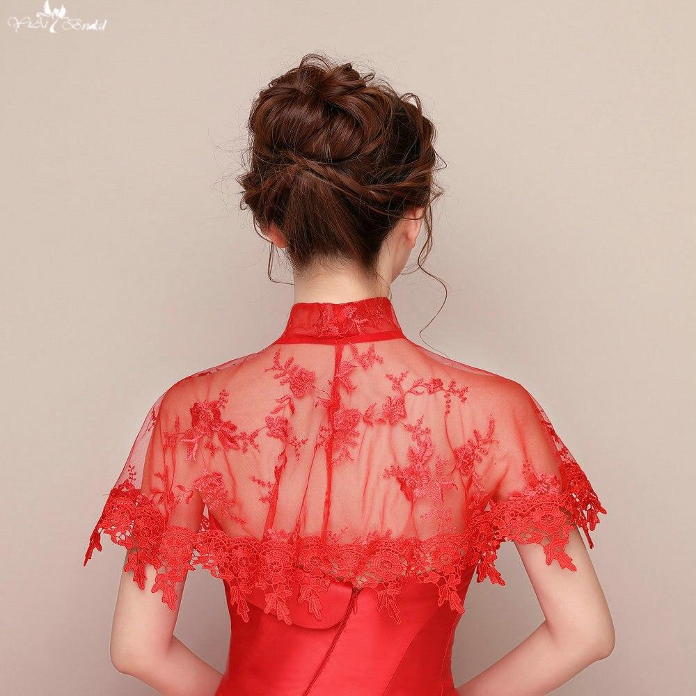 Bolero Rouge Mariage à lzp094 rouge dentelle bord appliques châles bolero de mariage col