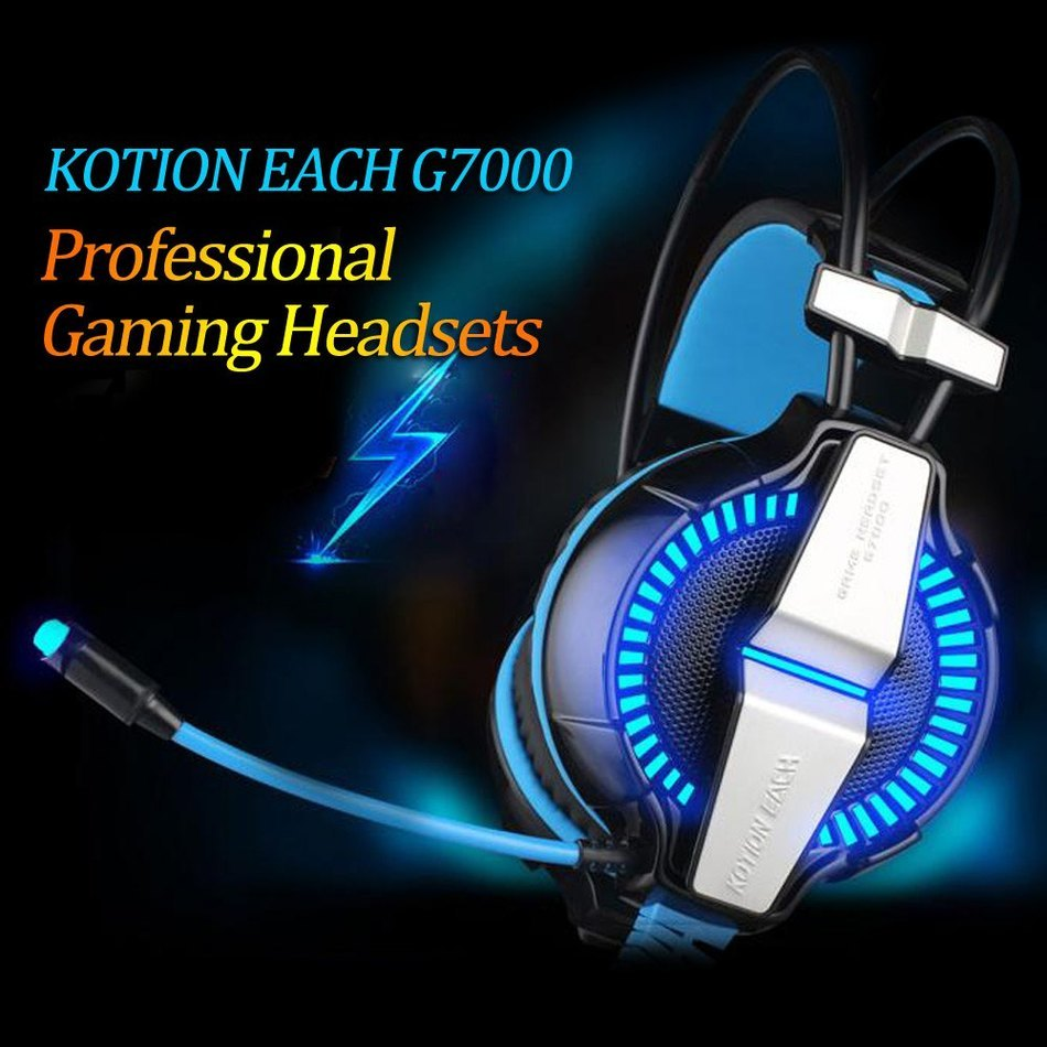 Top Quality EACH G7000 Vibration Function BLN Headband Gaming Headphones Headset for Computer Game Surround 7.1 Channel with MIC each g8200 gaming headphone 7 1 surround usb vibration game headset headband earphone with mic led light for fone pc gamer ps4