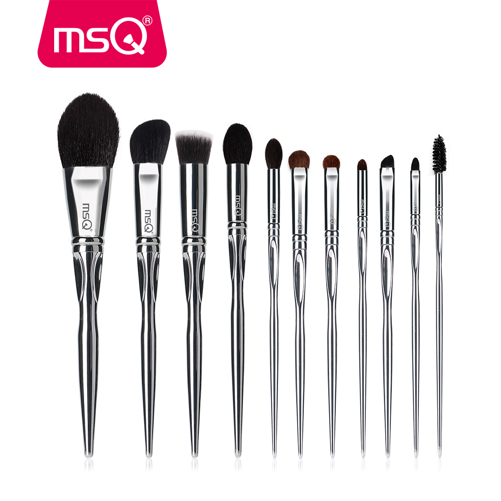 MSQ 11pcs Pro Makeup Brush Set PlasticMaterial Powder Foundation Eye Shadow Make Up Brush Set Soft Goat Hair With Black Cylinder fish shaped ombre handle eye brush 11pcs