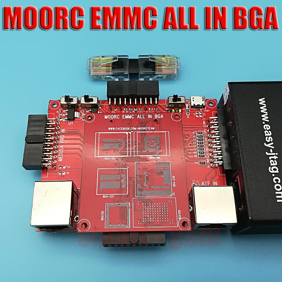 Neue MOORC EMMC ALLE IN BGA mit Riff EINFACH JTAG EMMC MEDUSA PRO UFI ORT BOX BGA 221 162 189 336 100 Adapter