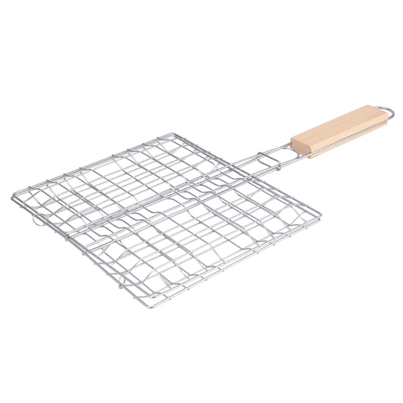 HGHO-Metal Triple Grilling Basket Picnic Outdoor Barbecue Tool