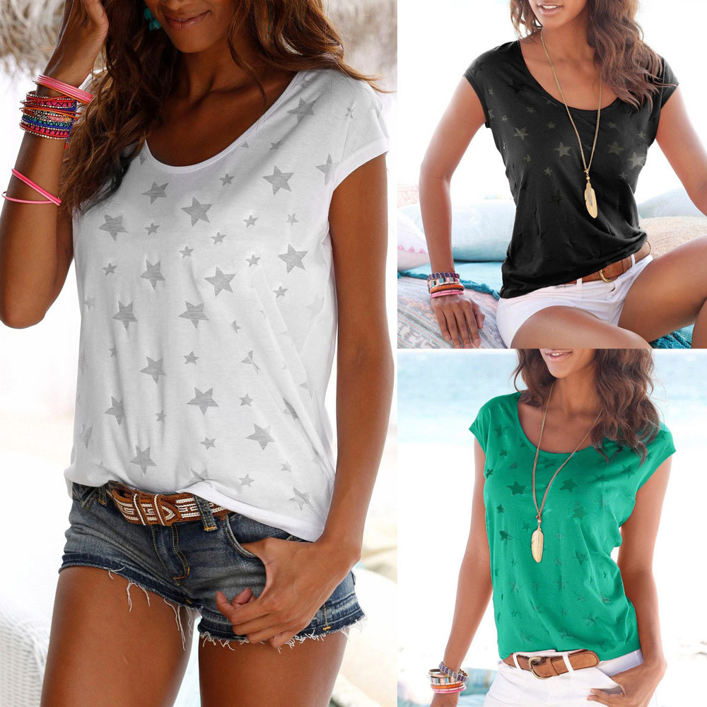 JAYCOSIN T-Shirt Women Summer Simple Casual Loose O-Neck Short Sleeve Star Print T Shirt 2019 New Lady Trend Shirts Woman May17