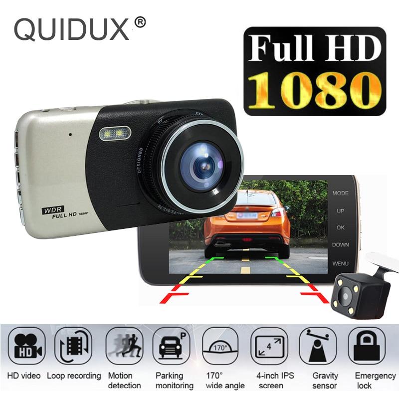 QUIDUX Car-Dvr Video-Recorder Rearview-Mirror Dash-Cam Dual-Lens Motion-Detection Nightvison