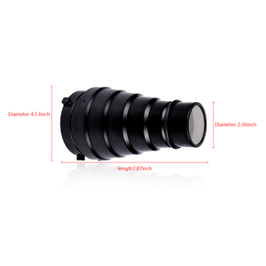 Image 5 - CY SN02 Metal Conical Snoot with Honeycomb Grid 5pcs Color Filter Kit for Bowens Mount Studio Strobe Monolight Photography Flash