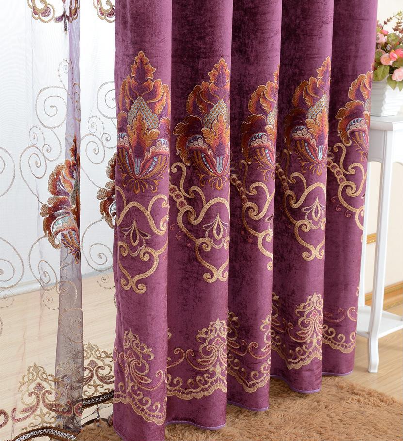Новый Кружево Cortina Бесплатная доставка Фиолетовый Вышивка Cortinas роскоши Европе Шторы готовой Шторы с тюль лист Бусины Шторы s