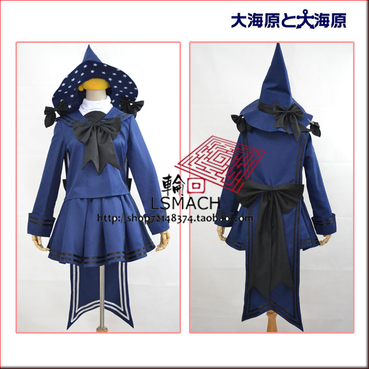 [STOCK] 2018 Anime Wadanohara and the Great Blue Sea witch Wadanohara Dress+hat+sock Cosplay Custume For Halloween Free Shipping