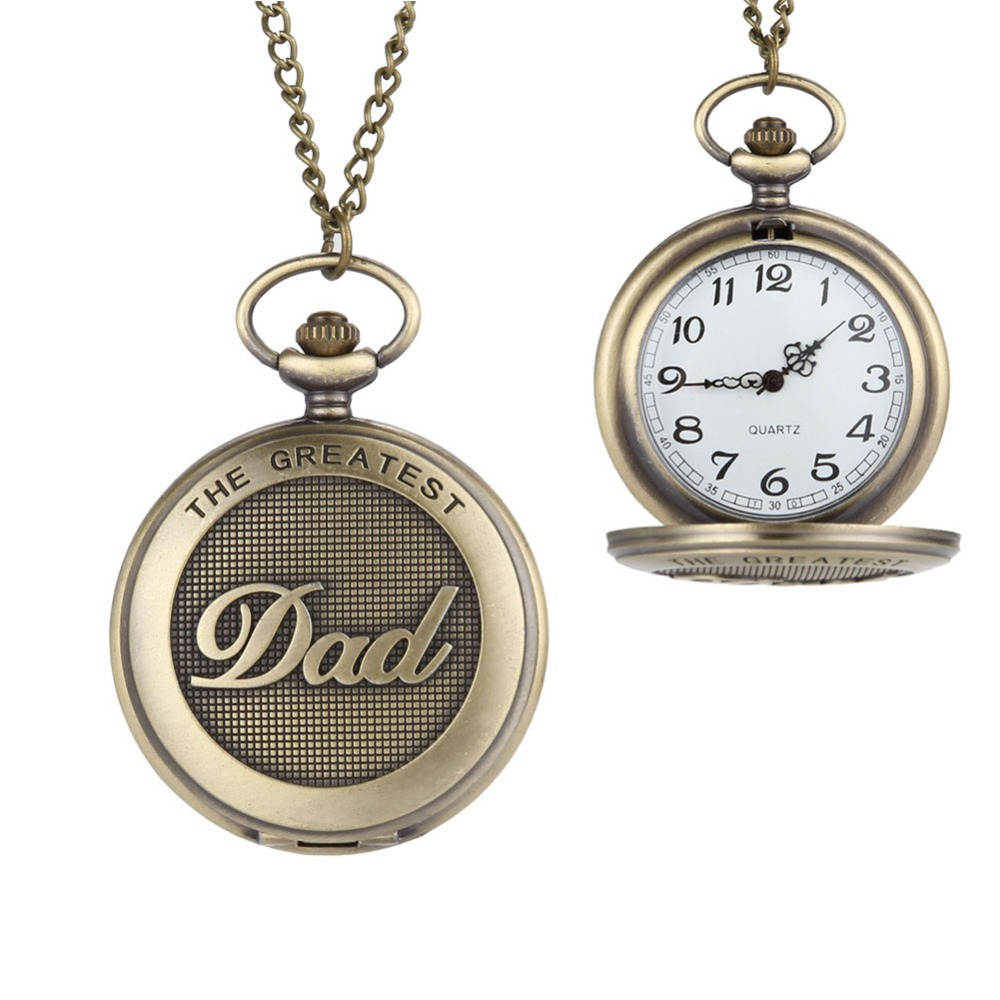 New Arrive Bronze <font><b>Big</b></font> Size DAD Pocket <font><b>Watch</b></font> With Chain Fashion & Leisure Necklace Pocket <font><b>Watch</b></font> LXH image