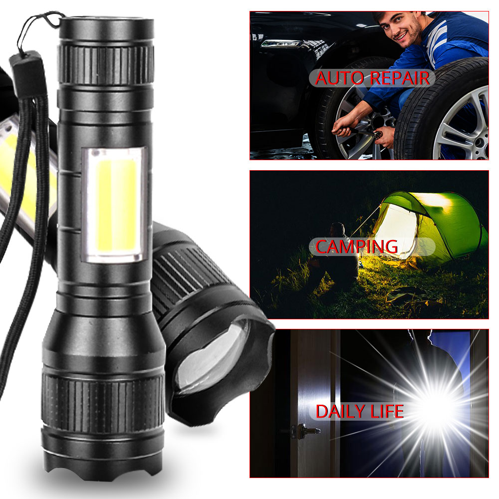 Купить с кэшбэком COB LED Flashlight 8000 Lumens T6 LED+COB Lanterna 3 modes Waterproof Rechargeable Torch zoom Side COB lamp for camping Working