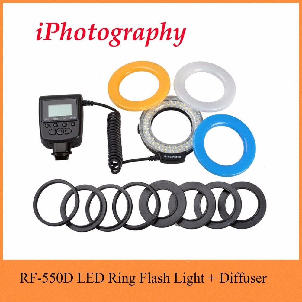 RF-550D RF 550D Macro 48 pièces LED Anneau Flash Lumière pour Canon pour Nikon pour Pentax pour Olympus pour Panasonic DSLR