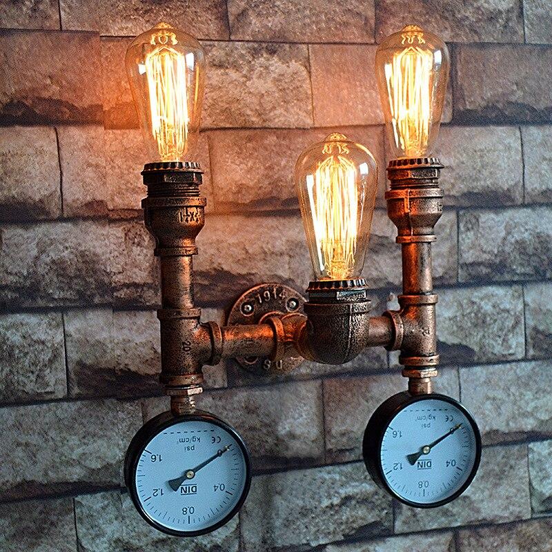 Vintage intérieur industriel applique murale Style Loft américain conduite d'eau vanité Luminaire chevet applique maison déco rouille Luminaire