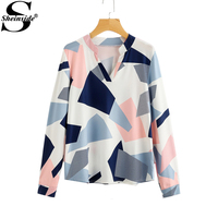 Sheinside Abstract Geo Print Patchwork Blouse Women S V Neck Long Sleeve Casual Blouse 2017 Fall