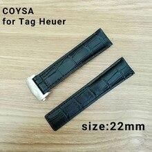 Coysa pour tag heuer new souple durable montre accessoires montres bracelet ceinture en cuir véritable bracelet de montre de bande 22 bracelets