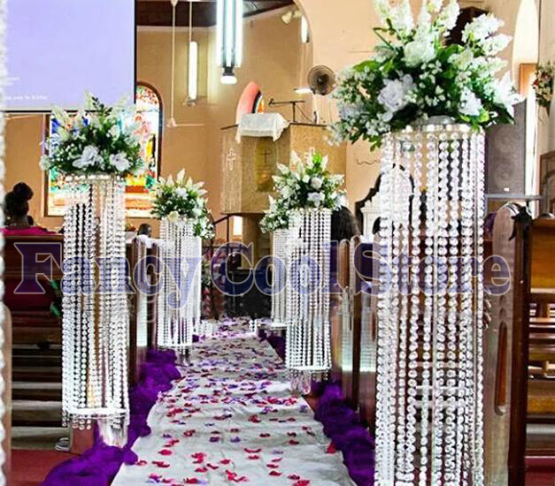 Wedding Flower Pillars: Wedding Crystal Pillar Road Leads Flower Stand Luxury