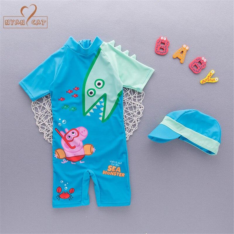 Free Ship Summer baby boy swimwear+hat 2pcs set dinosaur animals swimming suit infant toddler kids children Spring beach bathing