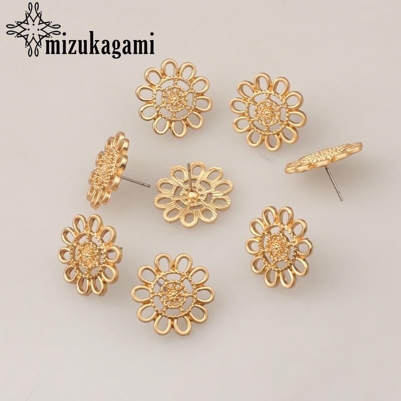 Golden Zinc Alloy Hollow Daisy Flowers Earrings Base Earrings Connector 20mm 6pcs/lot For DIY Earrings Making Accessories