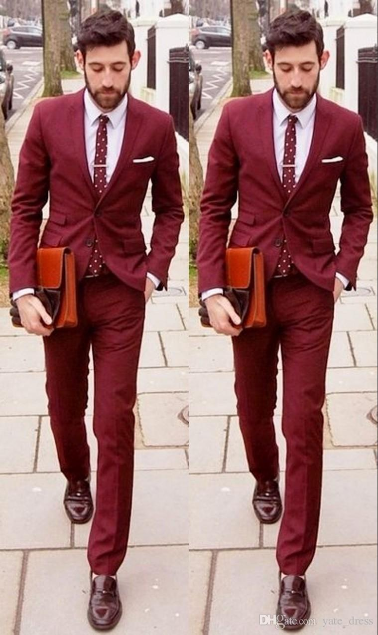 003a34c9cc22 Buy latest groom suits wine red wedding and get free shipping on  AliExpress.com