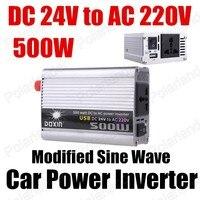 Coche de onda sinusoidal modificada transformador de tensión 500W del barco del camión del USB 24V DC a AC 220V convertidor/inversor de potencia del cargador