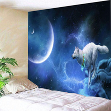 Blue Stars Crescent Moon Wolf Bohemia Mandala Floral Carpet Wall Hanging Tapestry For Wall Decoration Fashion Tribe Style